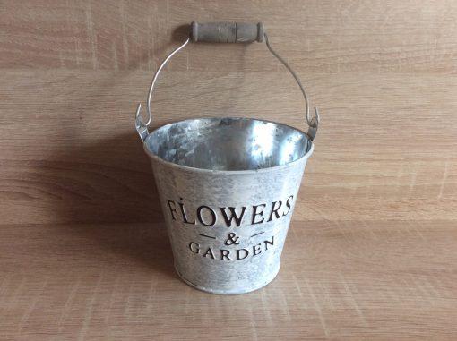 Metall-Eimer Flower and Garden, zink/weiß/gebürstet 12x12x10h + Henkel, EAN-Nr. 4039112117814