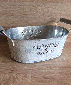 Metall-Jardiniere m. Henkel Flower and Garden, zink/weiß/gebürstet 17,5x11,5x7 h + Henkel, EAN-Nr. 4039112117890