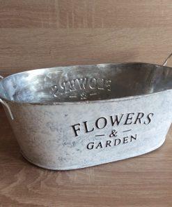 Metall-Jardiniere m. Henkel Flower and Garden, zink/weiß/gebürstet25x14,5x9 h + Henkel, EAN-Nr. 4039112117906
