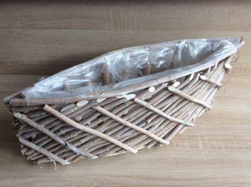 Pflanzschiff aus schmalen Holzstäben mit Folie, 52x17x16cm natur gewaschen, EAN 4251123310828