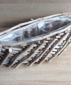 Pflanzschiff aus schmalen Holzstäben mit Folie, 40x13x12cm natur gewaschen,  EAN 4251123310835