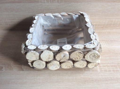 Pflanzgefäß viereckig aus runden und ovalen Holzplättchen,mit Folie, 22x22x10cm natur gewaschen, EAN 4251123310859