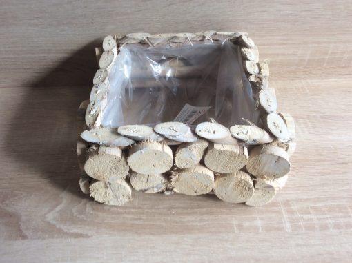 Pflanzgefäß aus runden und ovalen Holzplättchen, mit Folie, 19x19x9cm natur gewaschen , EAN 4251123310859