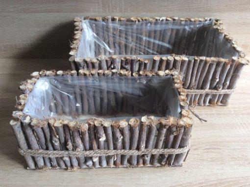 Pflanzgefäß aus Naturholzstäbchen eckig, mit Folie, 36x20x13cm, 28x15x11cm grau gewaschen 2er Set, EAN 4251123310866