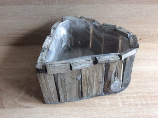 Pflanzgefäß in Herzform mit Folie aus Holzstückchen natur, 23x22x13cmUK EAN 4251123310897