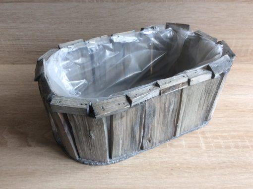 Pflanzgefäß oval mit Folie aus Holzstückchen natur, 28 x 17 x 12 cm , EAN 4251123310927