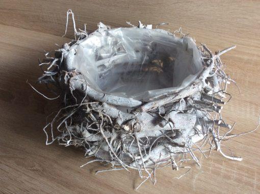Wurzelholz Pflanzschale 25x12 cm weiß gewaschen, EAN Nr. 4251123308375