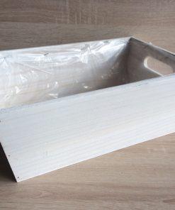 Holzkiste mit Folie, 32x21x12h cm, rechteckig, weiß gewaschen, EAN 4251123308382