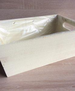 Holzkiste mit Folie, 32x21x12h cm, rechteckig, pastell-gelb, EAN 4251123308405