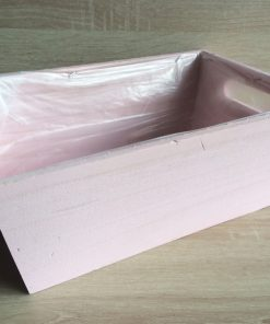 Holzkiste mit Folie, 32x21x12h cm, rechteckig, pastell-rosa, EAN 4251123308412