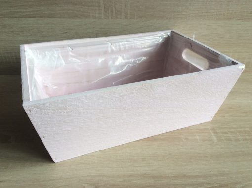 Holzkiste mit Folie, 32x21x12h cm, rechteckig, pastell-hellrosa, EAN 4251123308429