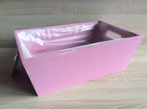 Holzkiste mit Folie, 32x21x12h cm, rechteckig, purpur hell, EAN 4251123308450
