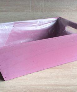 Holzkiste mit Folie, 32x21x12h cm, rechteckig, purpur, EAN 4251123308467